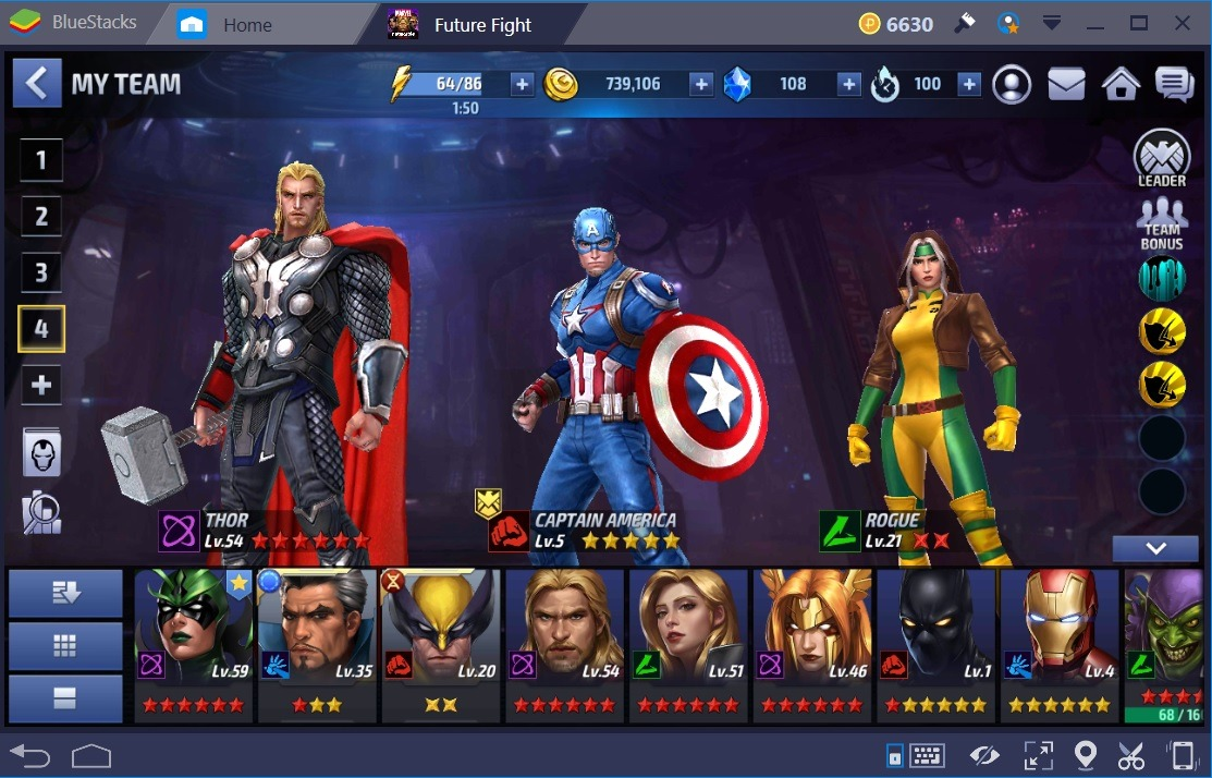 Marvel Future Fight Cap America Thor Rogue