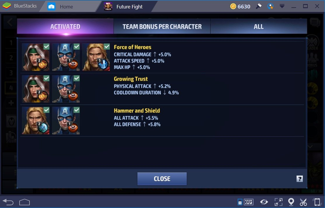 Marvel Future Fight Cap Am Thor Rogue Team Bonuses