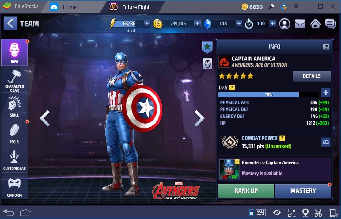 Marvel Future Fight Captain America Stats