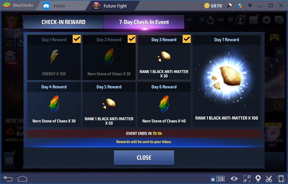 Marvel Future Fight Energy 7 Day Reward