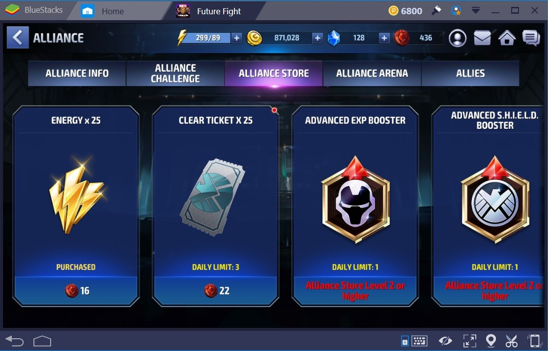 Marvel Future Fight Energy Alliance Store