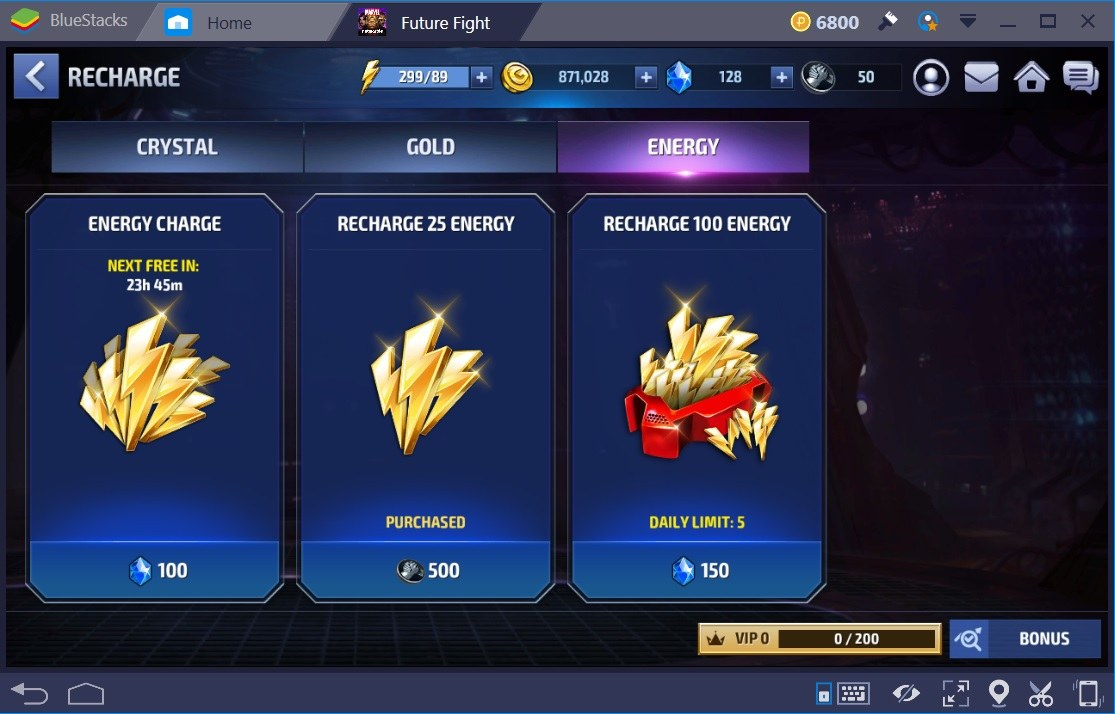 Marvel Future Fight Energy Store