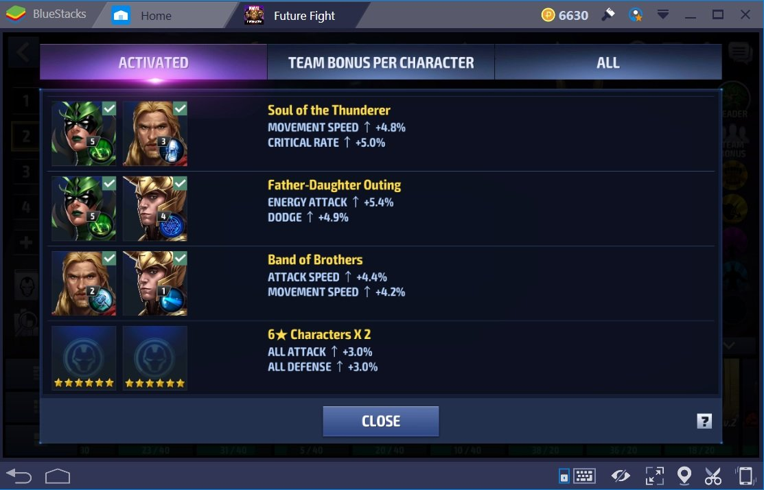 Marvel Future Fight HTL Team Bonuses