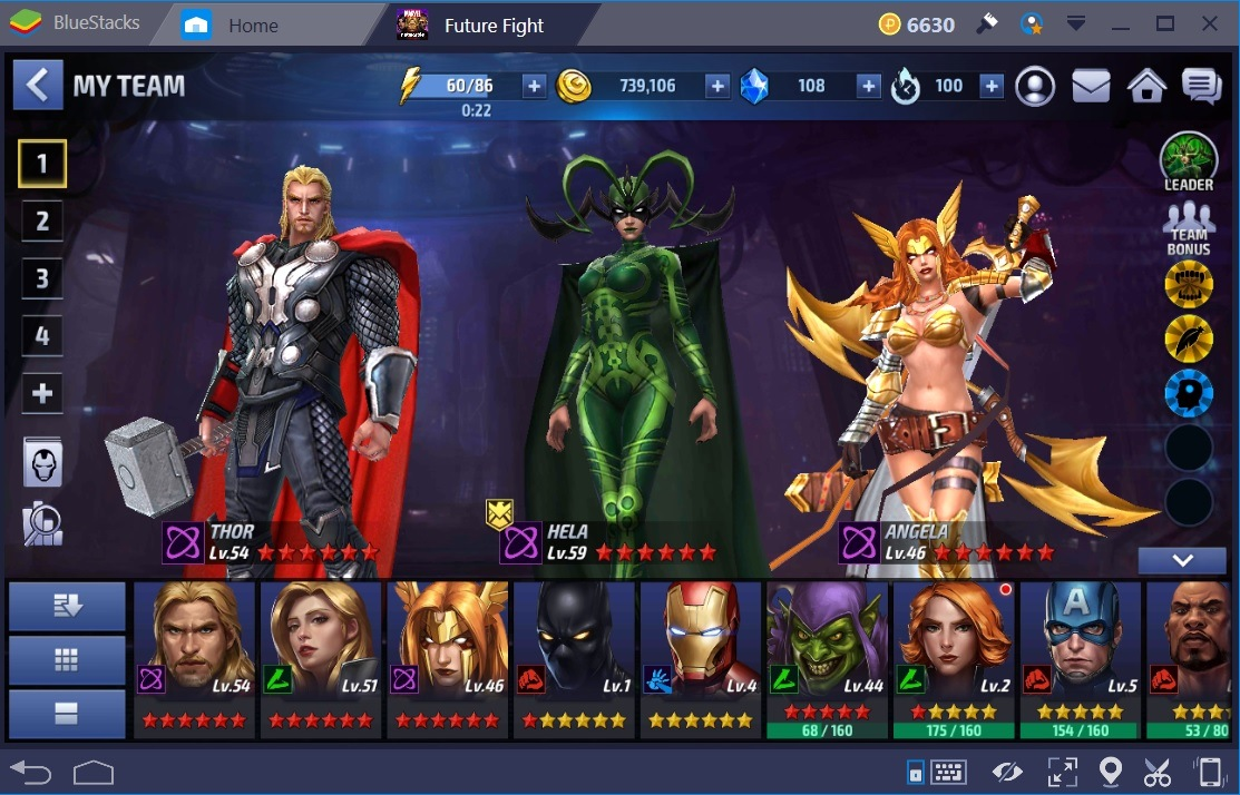 Marvel Future Fight Hela Thor Angela