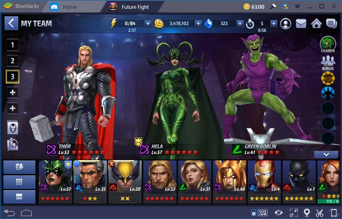 Marvel Future Fight Main Team