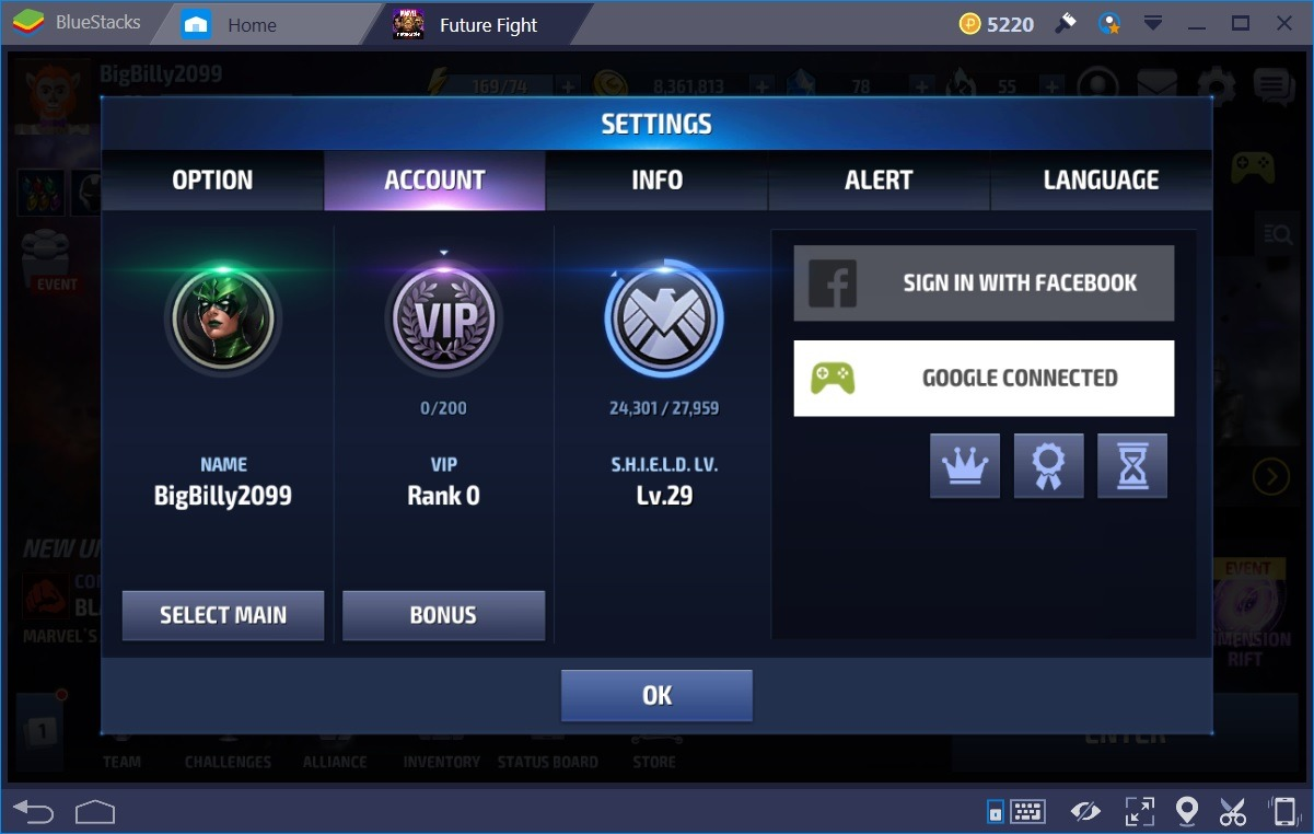 Marvel Future Fight Option Screen