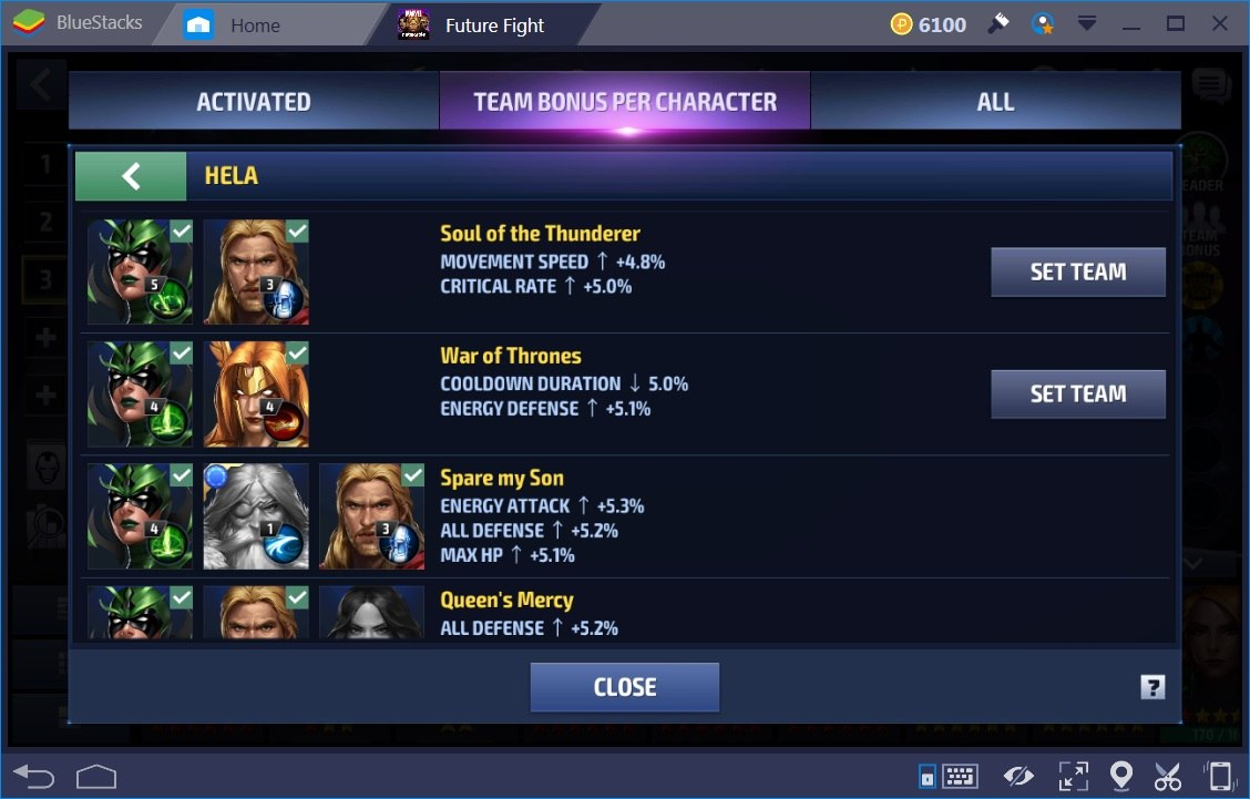 Marvel Future Fight Team Bonus 2