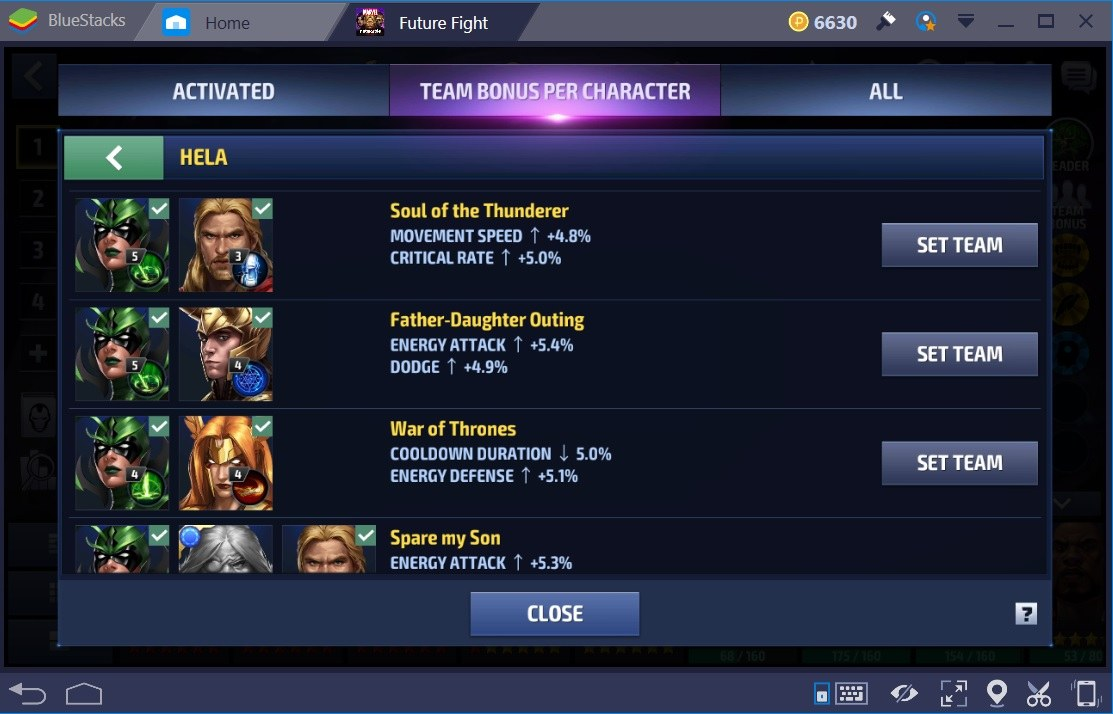 Marvel Future Fight Team Bonuses Hela