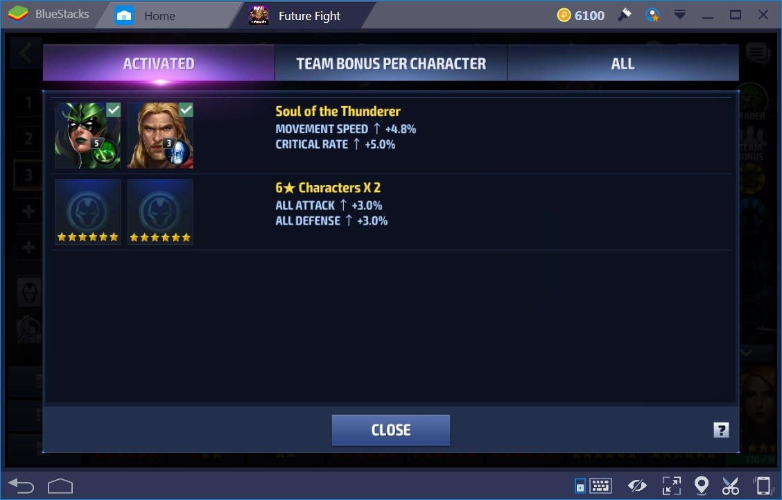 Marvel Future Fight Team Bonus