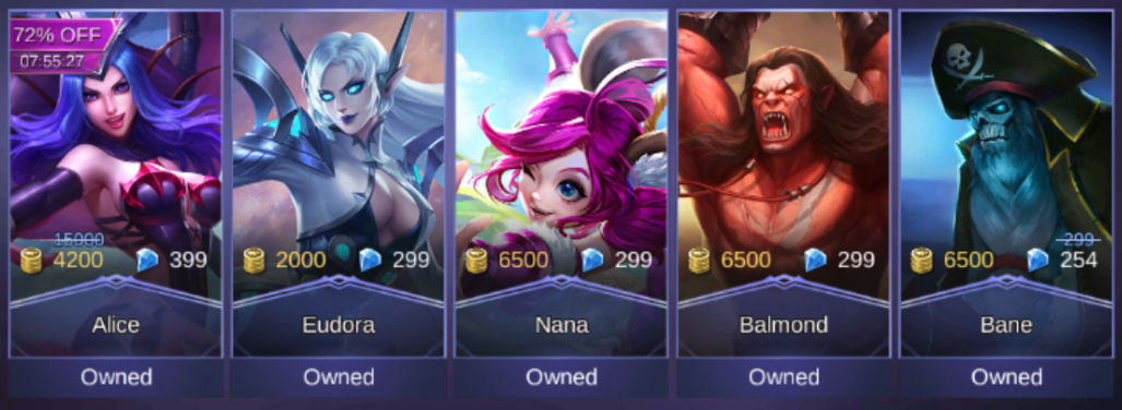 Mobile Legends Heroes Owned