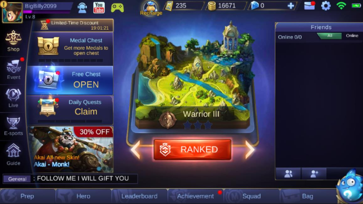 Mobile Legends Main Screen