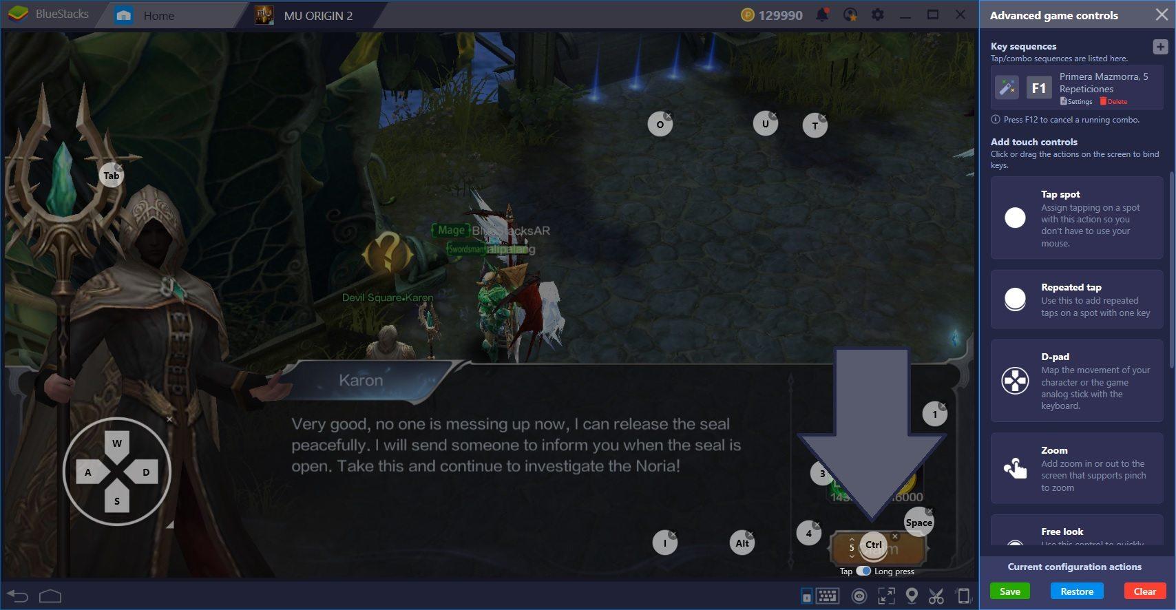 دليل استخدام BlueStacks لـ MU Origin 2