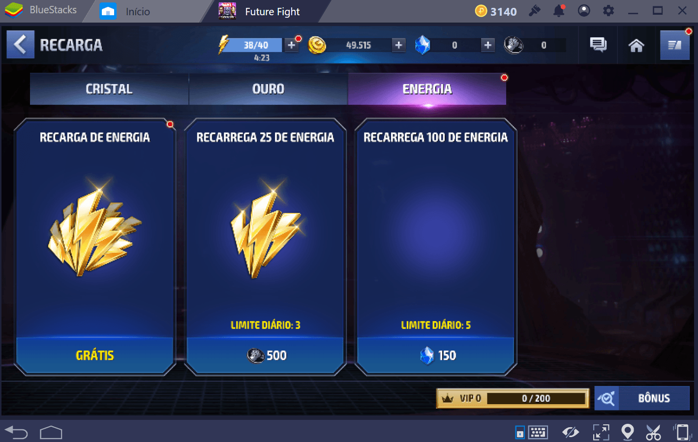 Guia de energia para MARVEL Future Fight