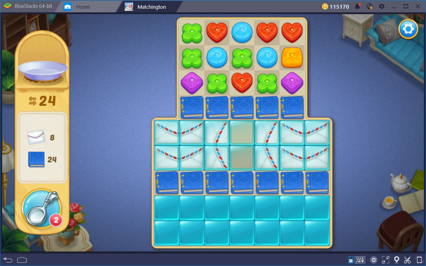 Combine Pillows and Blow Up the Boards in Matchington Mansion with BlueStacks