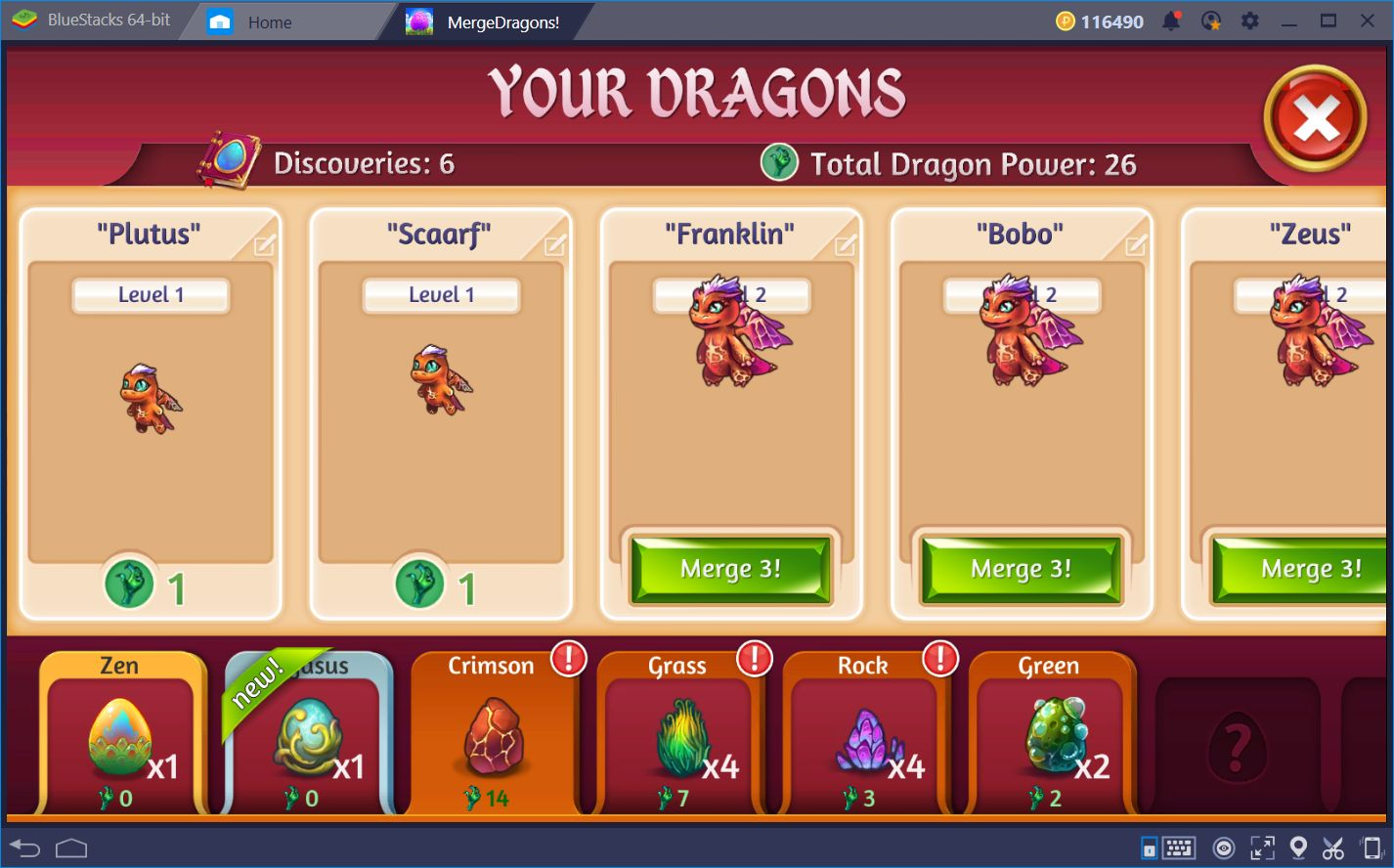 Combination Guide for Merge Dragons! on PC