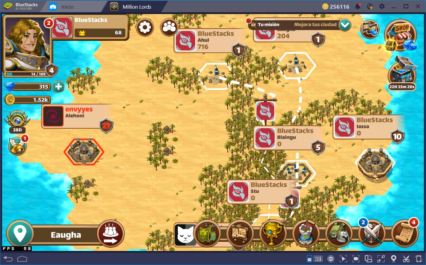 Conquistando el Reino en Million Lords con BlueStacks