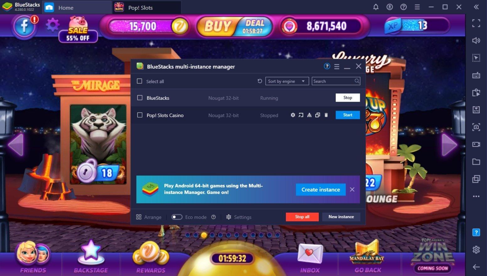 Comment Jouer à Pop! Slots Casino sur PC avec BlueStacks