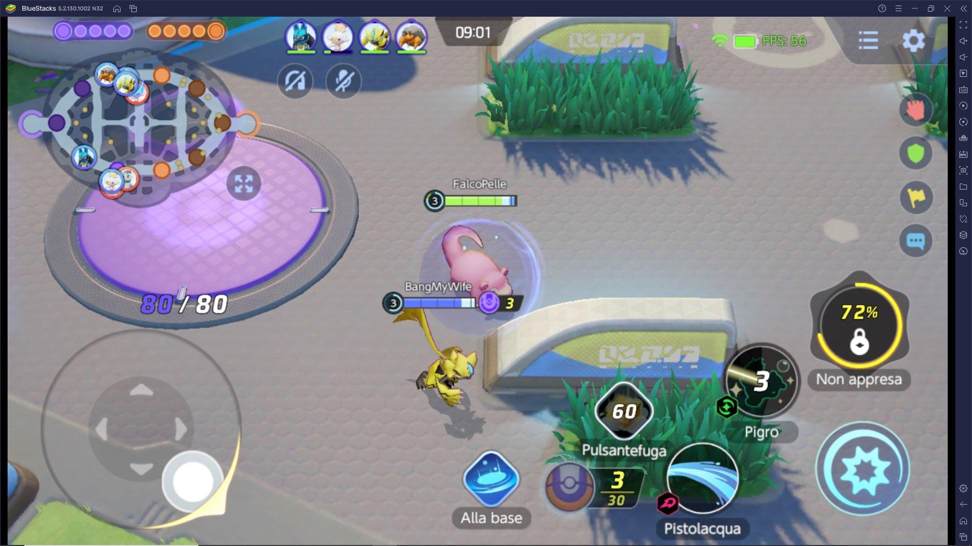 Come affrontare la Giungla (area centrale) in Pokémon UNITE con un pokémon velocista