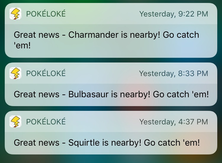 PokeLoke for Pokemon GO - iOS Notifications