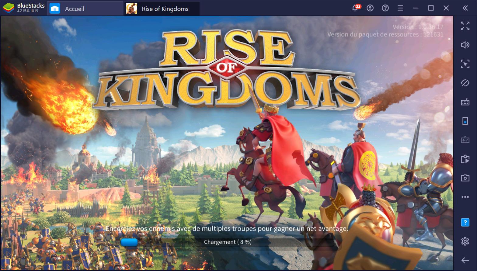 Automatisez les tâches rébarbatives dans Rise of Kingdoms sur PC avec les macros de BlueStacks