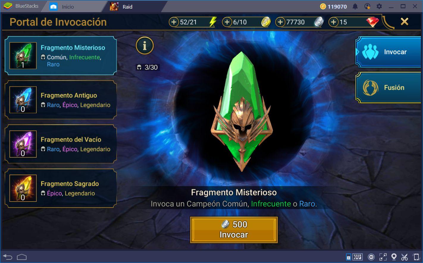 Guía de Rerolling y Automatización Para RAID: Shadow Legends Usando BlueStacks