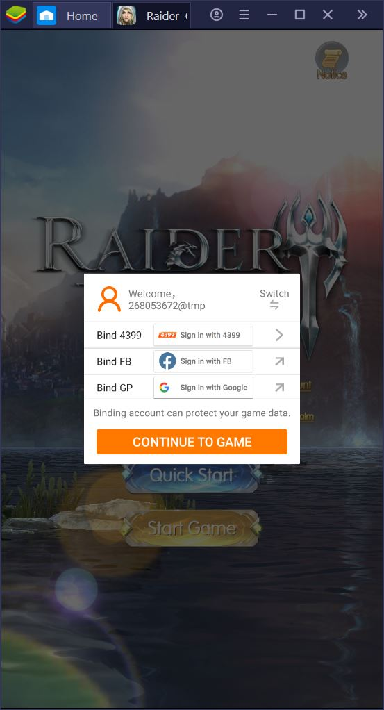 Installa e Configura Raider: Origin con Bluestacks
