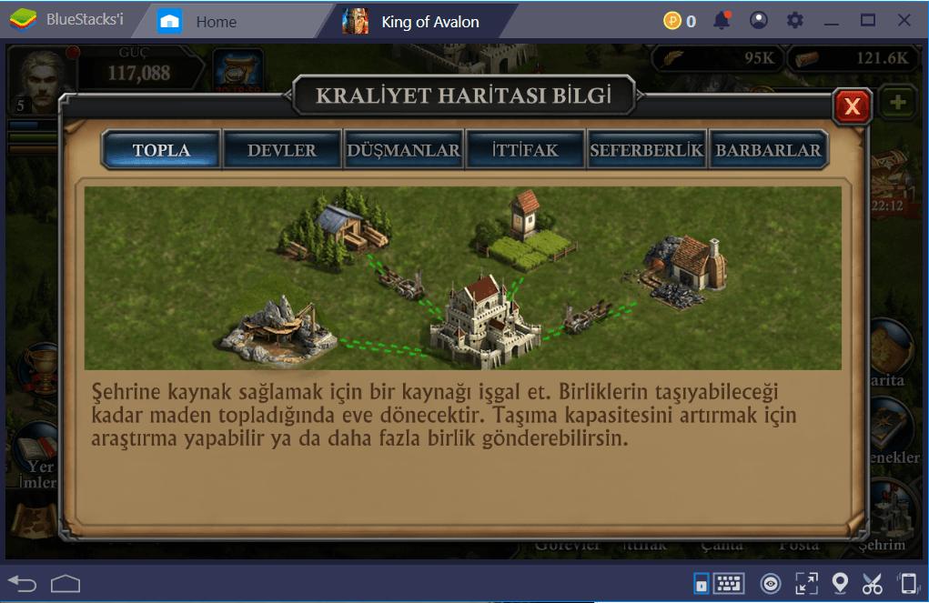 King of Avalon: BlueStacks Kaynak Toplama ve Kullanım Rehberi