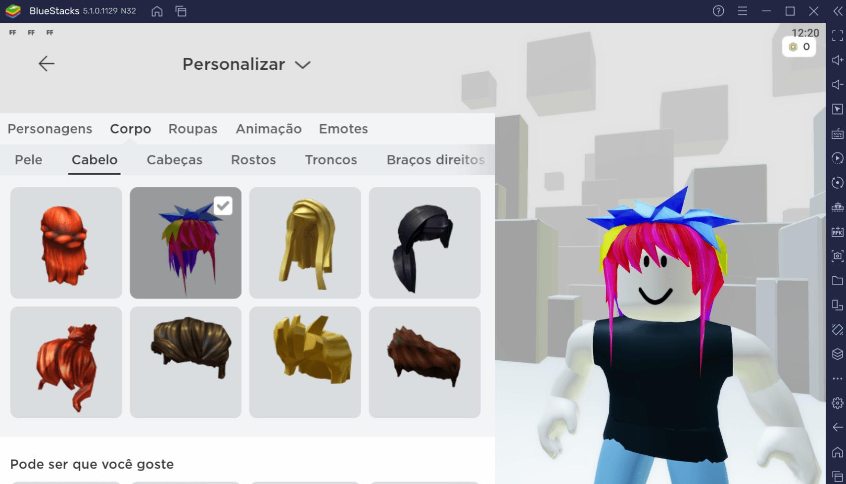 Como conseguir cabelo, roupas e personagens de graça em Roblox com BlueStacks
