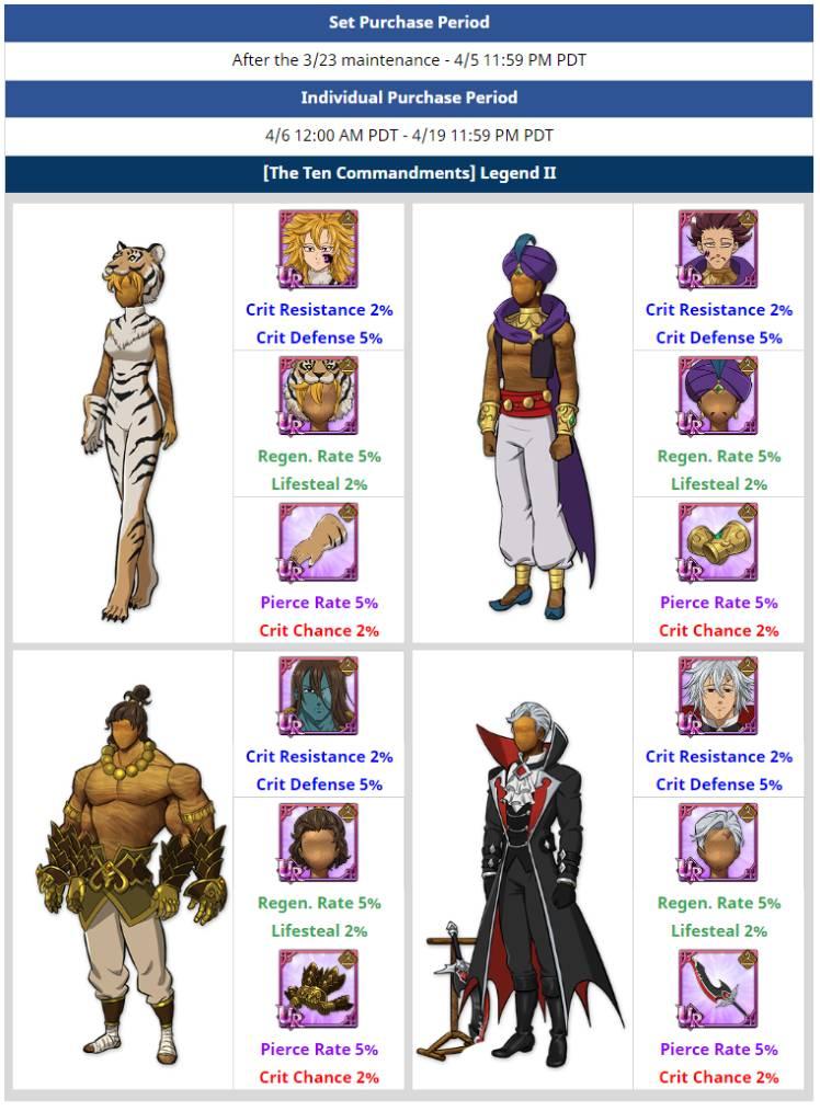 The Seven Deadly Sins: Grand Cross Release Ten Commandments Legend II Costume Sets