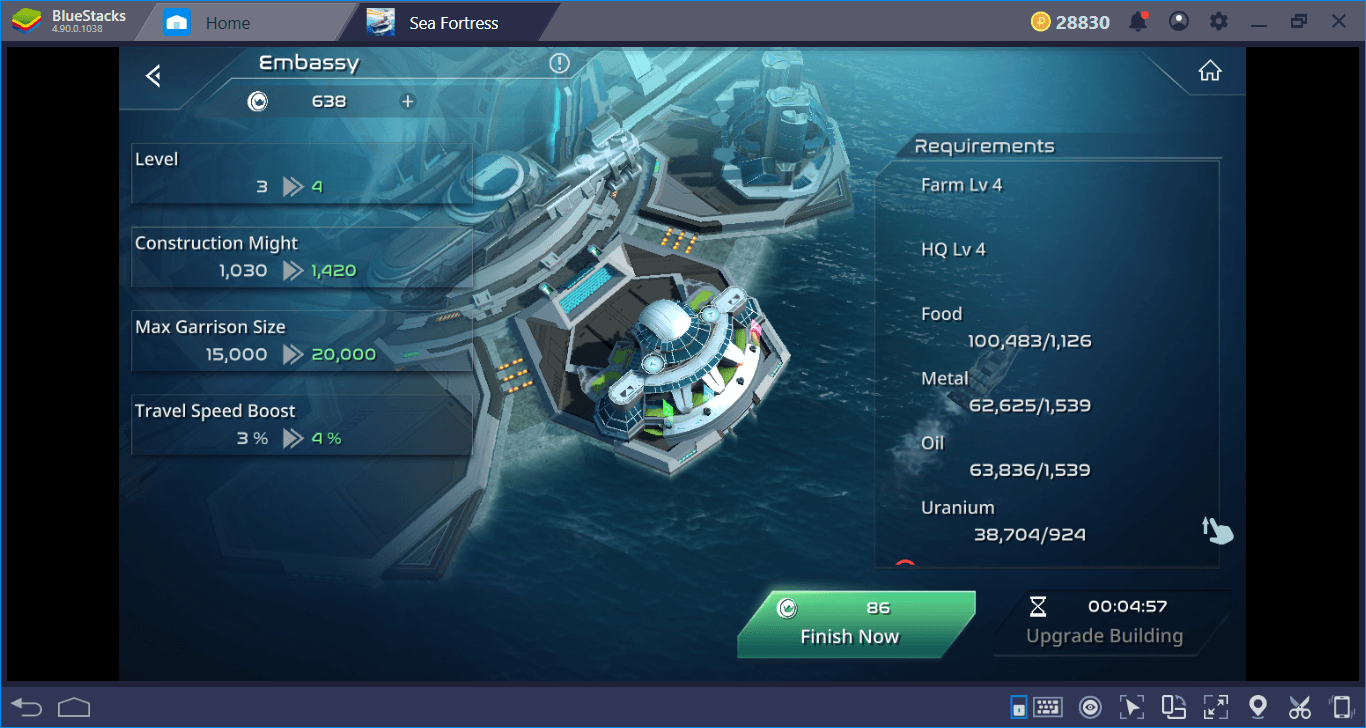 Buildings Of Sea Fortress: You Also Have A Base To Take Care Of