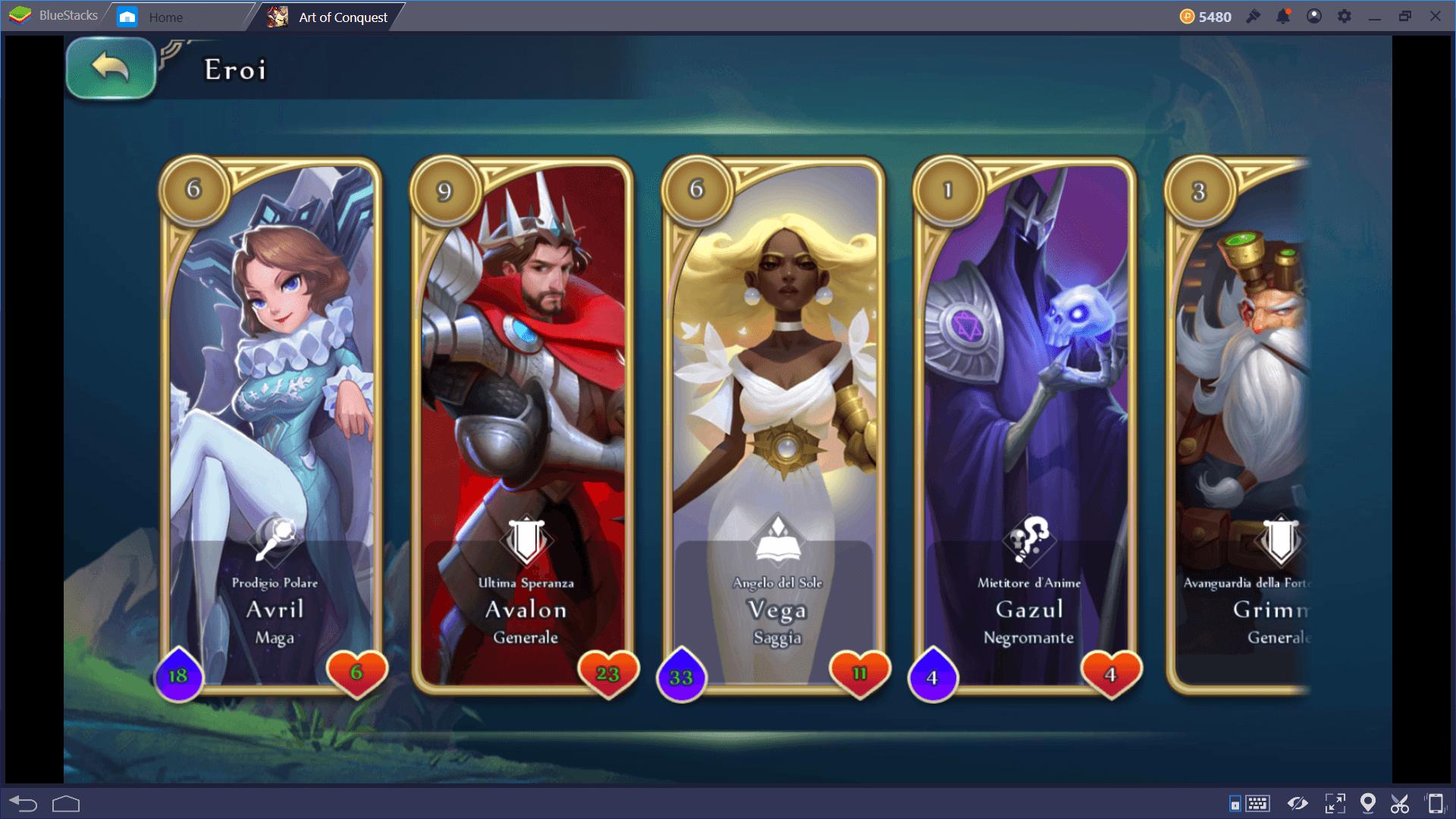Art of Conquest: Eroi e potenziamenti