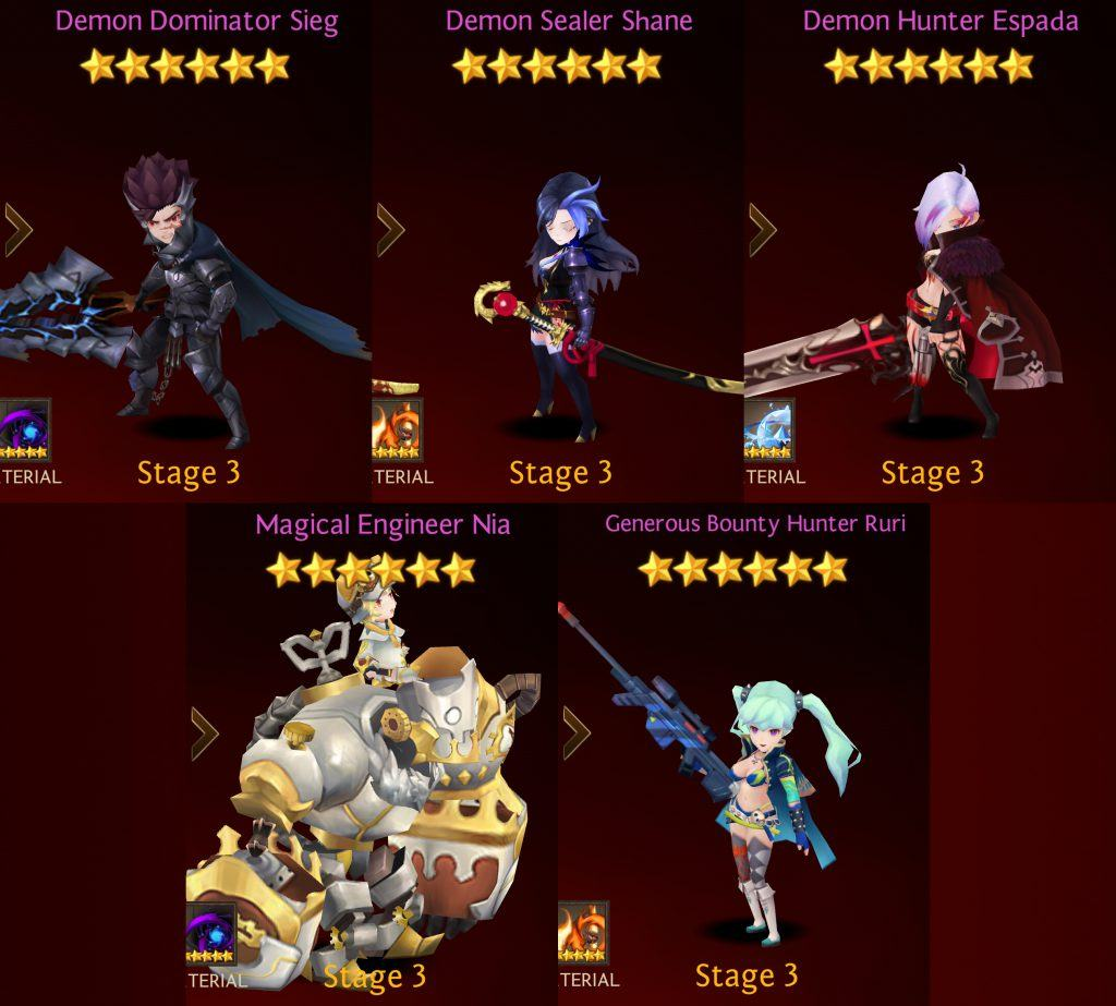 ultimate seven knights faction heroes list crusaders