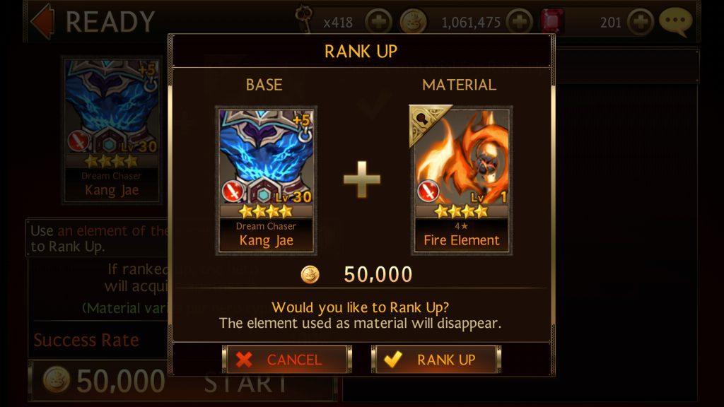 Seven Knights - Rank Up Similar Rank Hero and Material