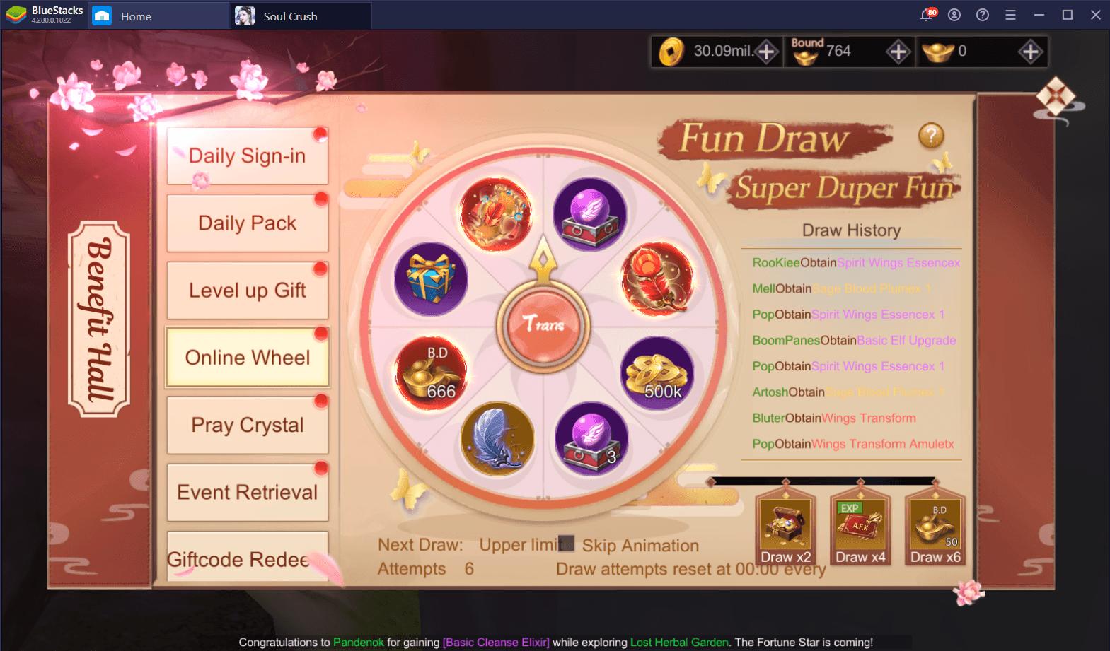 Farming EXP, Copper, and Bound Ingots in Soul Crush: Kongfu World