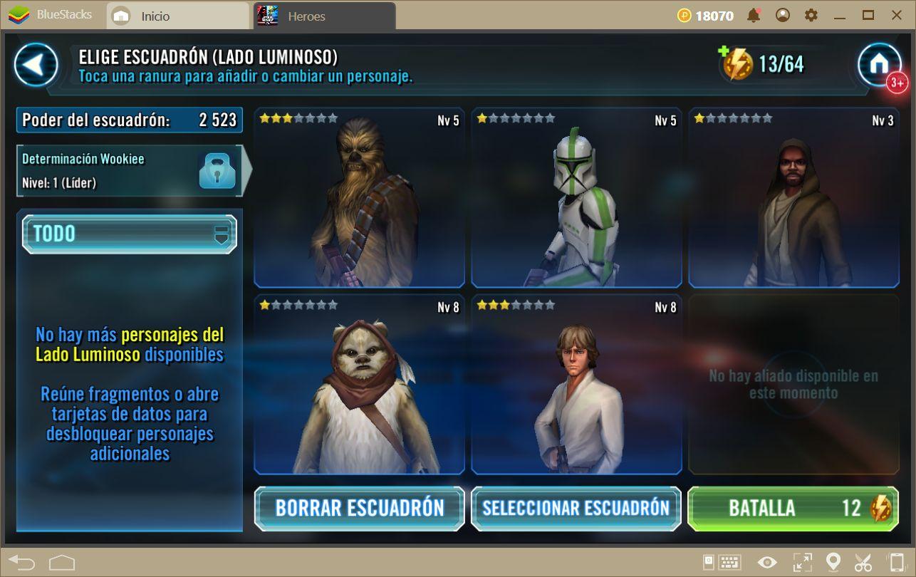 Consejos Para Subir de Nivel Rápido en Star Wars: Galaxy of Heroes