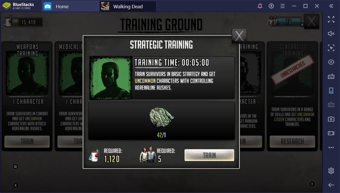 The Walking Dead: Road to Survival on PC – Training Ground Guide