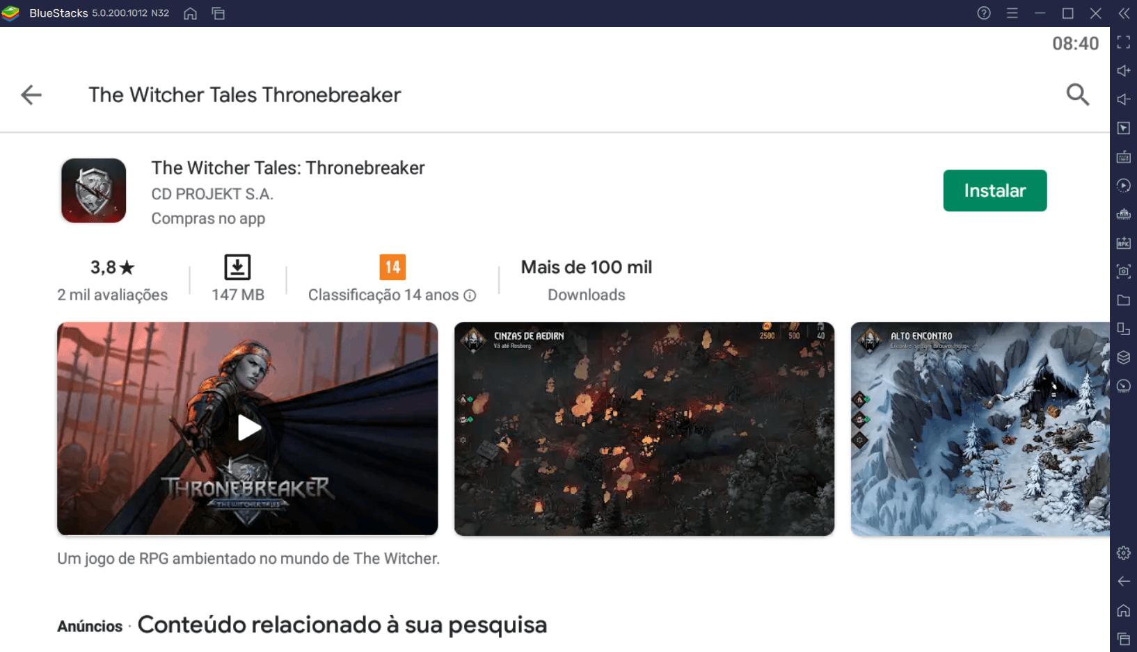 Como instalar The Witcher Tales: Thronebreaker de graça no PC com BlueStacks