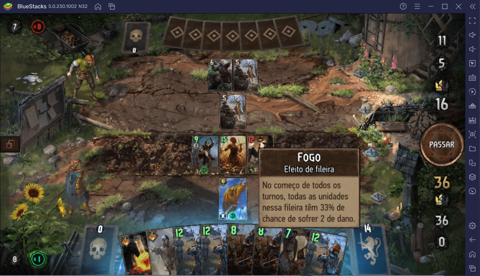 Combos de cartas em Lyria, primeiro mapa de Thronebreaker