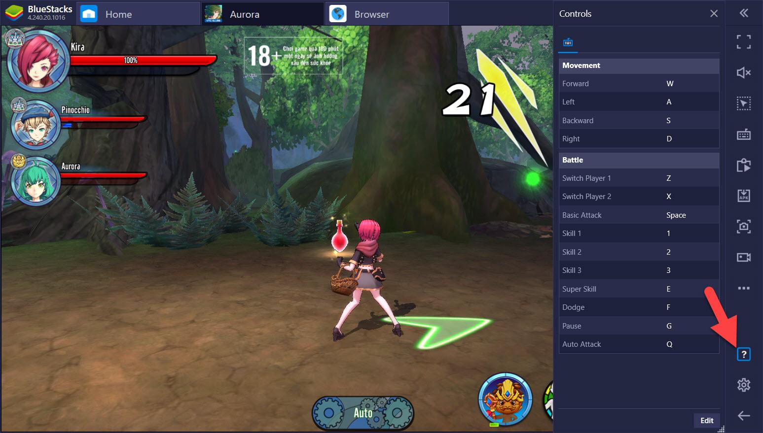 Thiết lập Keymapping khi chơi Aurora – Vùng đất huyền thoại trên PC