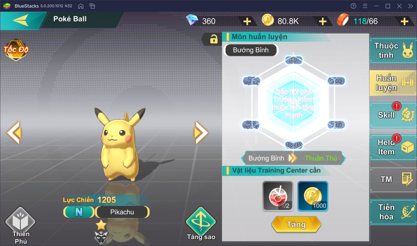 Hướng dẫn nâng cấp, tiến hóa Pokemon trong Bảo Bối Huyền Thoại