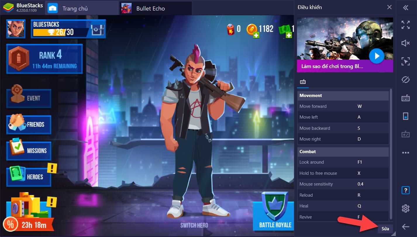 Bullet Echo: Thiết lập Game Controls, tối ưu di chuyển và hành động