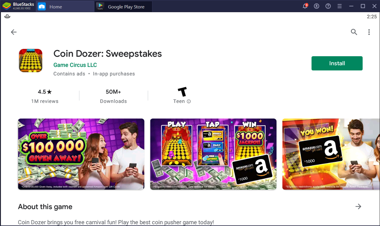 Play & Win – How to Play Coin Dozer: Sweepstakes on PC with BlueStacks