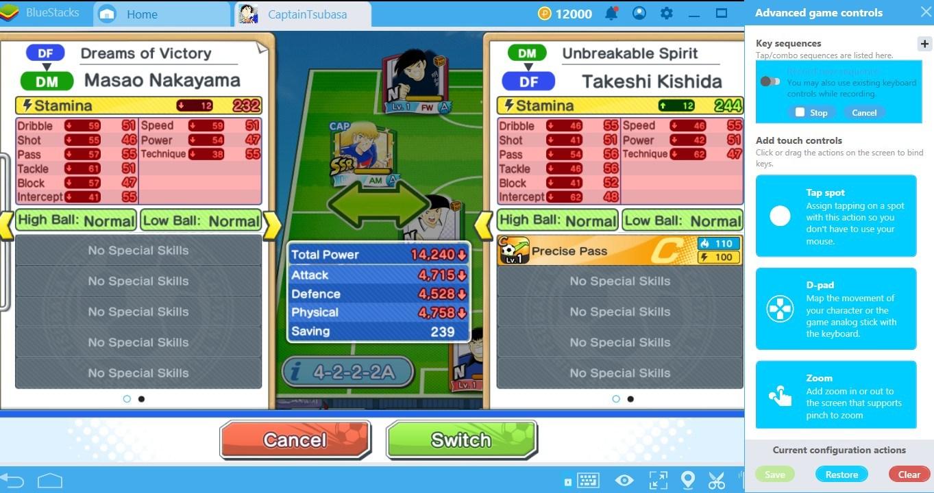 Sử dụng Combo Key của BlueStacks chơi Captain Tsubasa: Dream Team cực nhanh