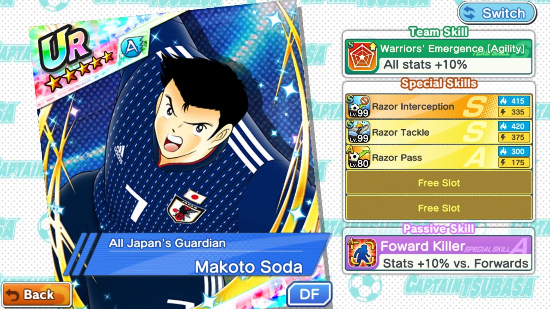 《足球小將翼:夢幻隊伍》2018年國際足總世界杯日本國家球隊的球員分析