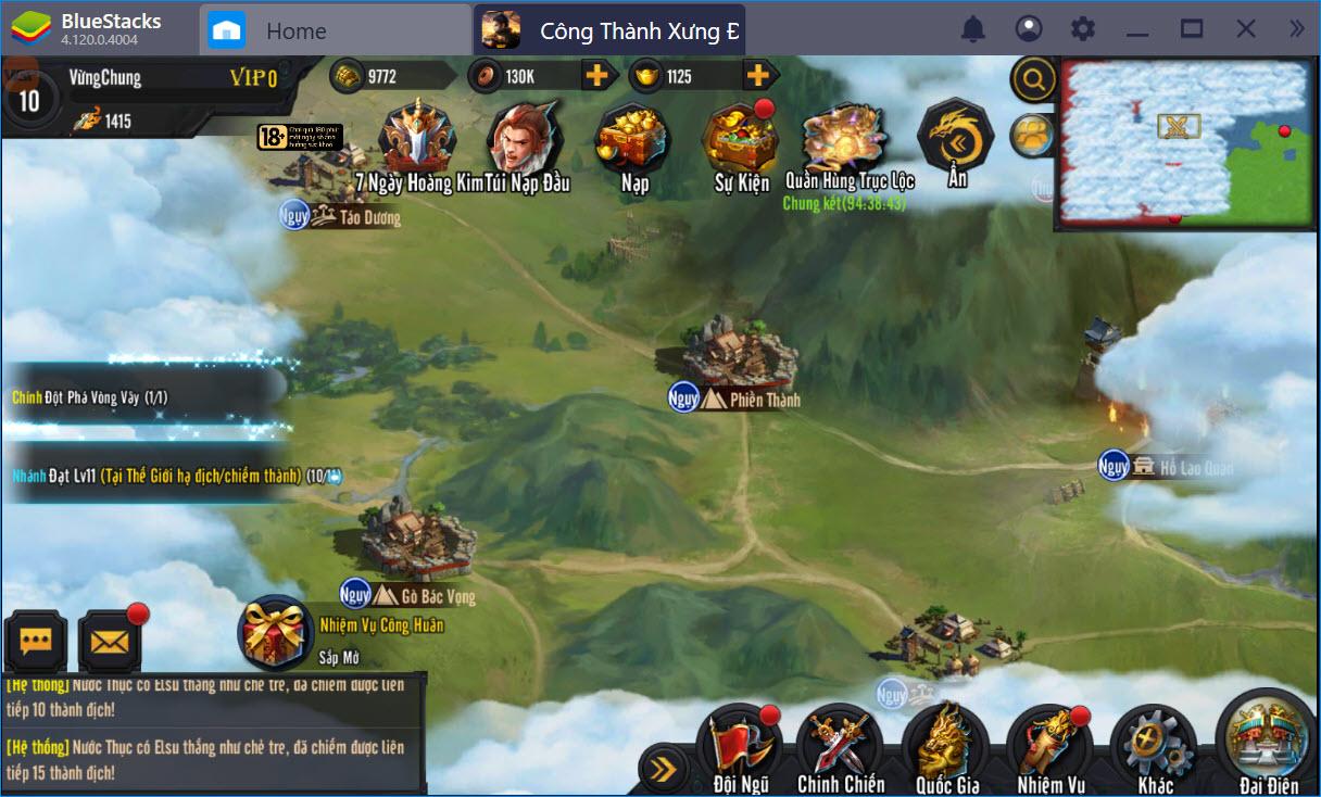 Hướng dẫn chơi cơ bản Công Thành Xưng Đế Mobile trên BlueStacks