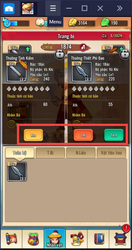 Hướng dẫn nâng cấp trang bị khi chơi Đại Hiệp Piu Piu Piu