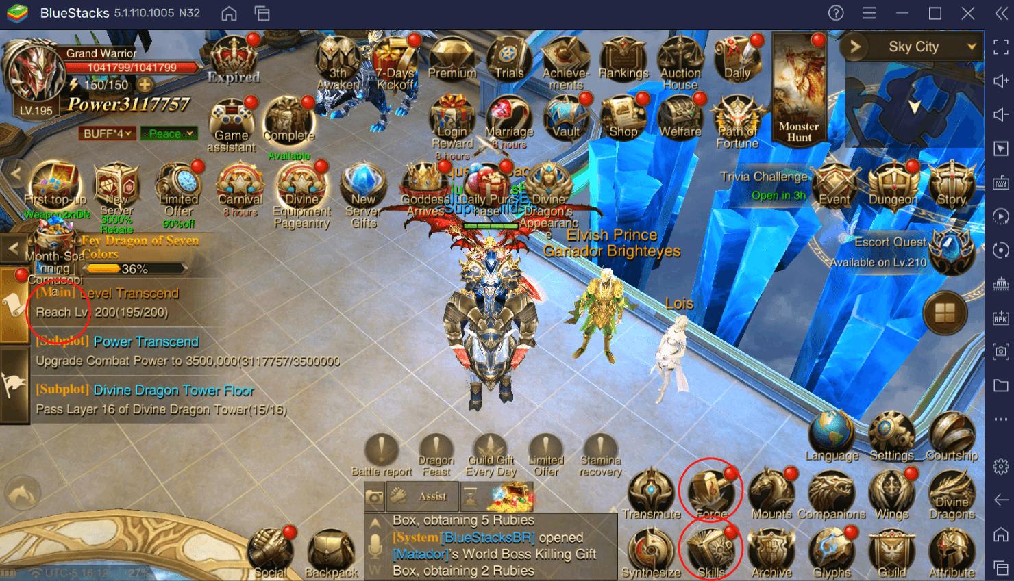 Farme EXP com Macros BlueStacks e evolua mais rápido em Dragon Storm Fantasy