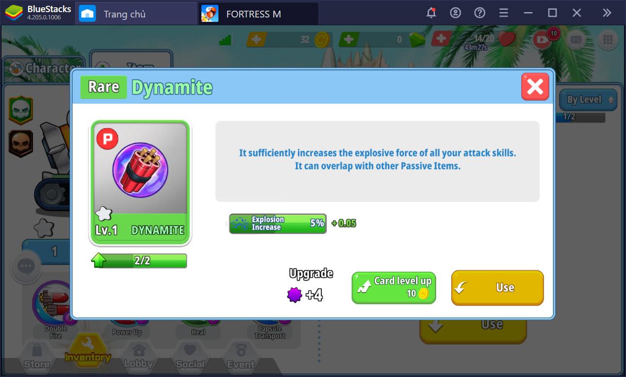 FortressM: Hướng dẫn nâng cấp tank, trang bị item trước trận đấu