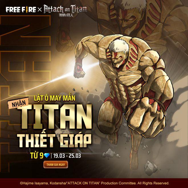 Garena Free Fire kết hợp củng Đại Chiến Titan