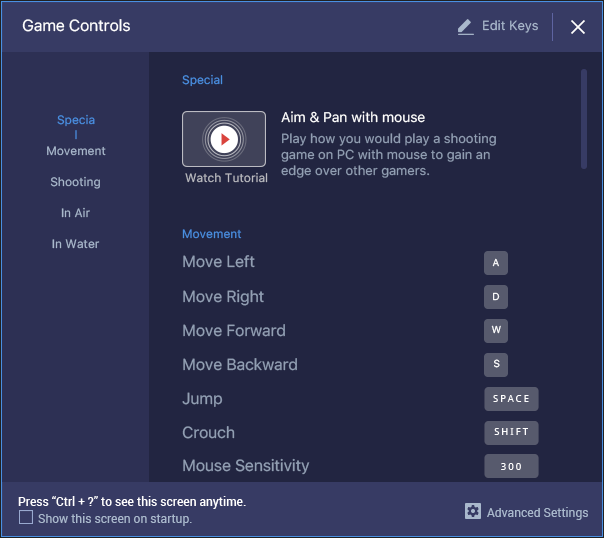 BlueStacks Controls for Keyboard, Mouse, and Gamepad